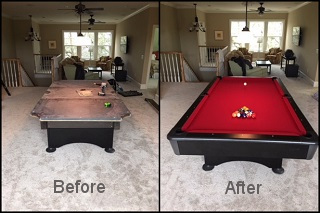 montgomery pool table refelting content